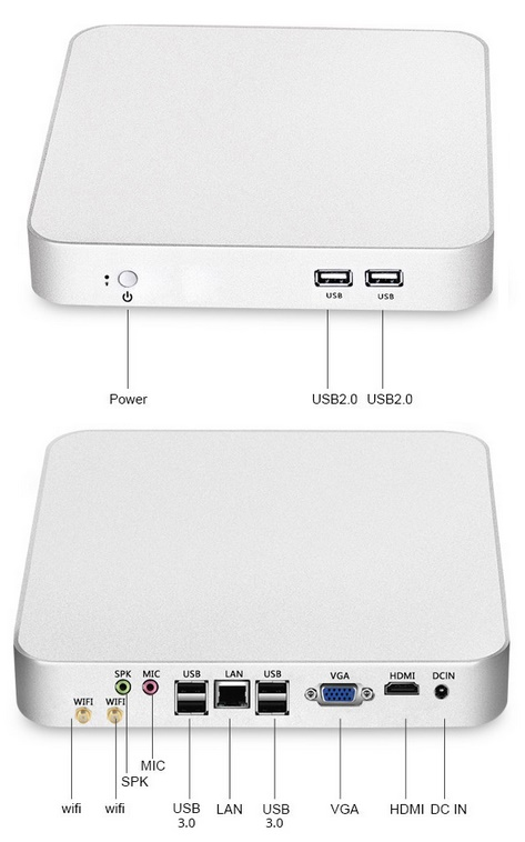 GERUISLOZE mini PC fanless Quad Core Intel 64GB/4GB E 239