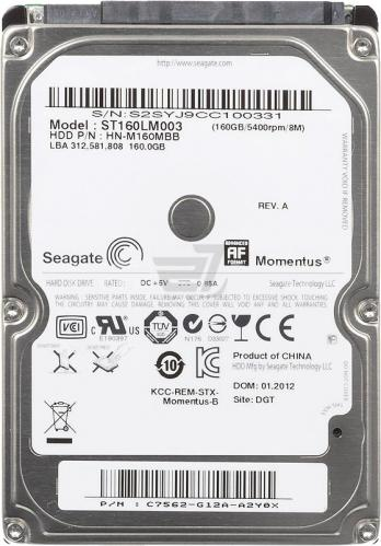 SATA II Laptop Harddisk 160GB Samsung st160lm003 , pulled, gecontroleerd